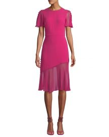Victoria Fluttered Sheer-Sleeve Midi Dress at Bergdorf Goodman