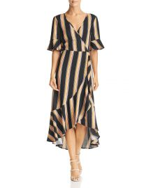 Victoria Herringbone Stripe Wrap Dress at Bloomingdales