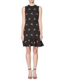 Victoria Victoria Beckham Bird-Print Flounce-Hem Minidress  Black at Neiman Marcus