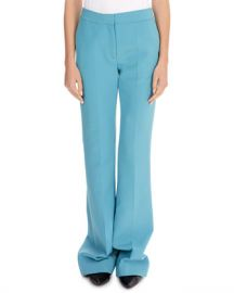 Victoria Victoria Beckham Flat-Front Straight-Leg Stretch-Wool Pants w  Flared Hem at Neiman Marcus