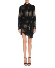 Victoria Victoria Beckham Long-Sleeve Shimmer Firework-Embroidered Shirt at Neiman Marcus