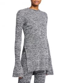Victoria Victoria Beckham Marled Long-Sleeve Keyhole Tunic at Neiman Marcus