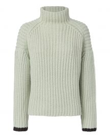 Victoria Victoria Beckham Wide-Ribbed Funnel-Neck Sweater  Green at Neiman Marcus