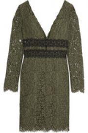 Viera macram   lace-paneled guipure lace dress at The Outnet
