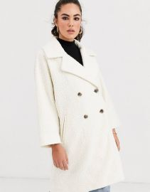 Vila boucle oversized jacket in cream   ASOS at Asos