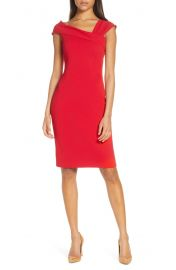 Vince Camuto Asymmetrical Neck Sheath Dress   Nordstrom at Nordstrom