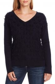Vince Camuto Floating Fringe Dot V-Neck Sweater   Nordstrom at Nordstrom