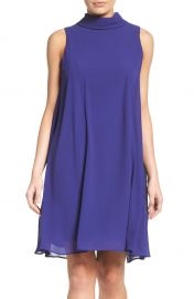 Vince Camuto Mock Neck Chiffon Trapeze Dress   Nordstrom at Nordstrom