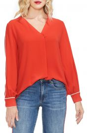 Vince Camuto Piped Sleeve Top at Nordstrom