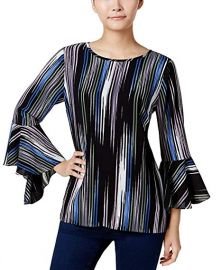 Vince Camuto Printed Bell-Sleeve Top at Amazon