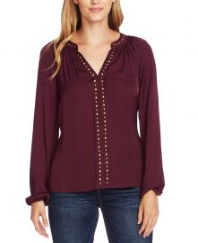 Vince Camuto Studded Blouson-Sleeve Top   Reviews - Tops - Women - Macy s at Macys