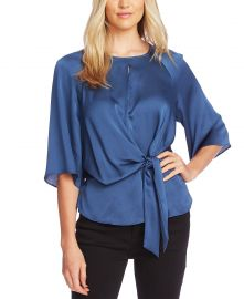 Vince Camuto Tie-Front Keyhole Top   Reviews - Tops - Women - Macy s at Macys