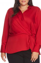 Vince Camuto Twist Detail Hammered Satin Blouse  Plus Size    Nordstrom at Nordstrom