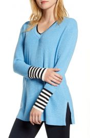 Vince Camuto V-Neck Stripe Cuff Sweater   Nordstrom at Nordstrom