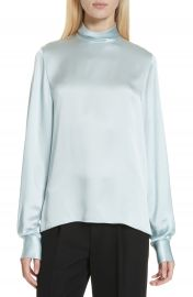 Vince High Neck Silk Blouse at Nordstrom