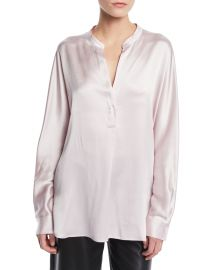 Vince Split-Neck Long-Sleeve Silk Satin Blouse at Neiman Marcus