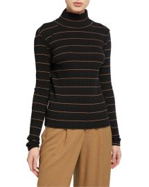 Vince Striped Rib Turtleneck Pullover at Neiman Marcus