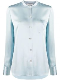Vince mandarin collar slim fit shirt mandarin collar slim fit shirt at Farfetch