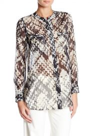 Vince   Basket Weave Print Collarless Silk Shirt   Nordstrom Rack at Nordstrom Rack