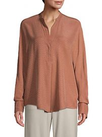 Vince - Dot Jacquard Popover Silk Blouse at Saks Off 5th