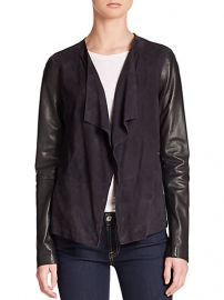 Vince - Draped Leather-Detail Knit Jacket at Saks Fifth Avenue