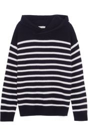 Vince   Hooded striped cashmere sweater at Net A Porter