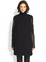 Vince - Leather-Sleeved Wool-Blend Coat at Saks Fifth Avenue