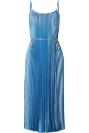 Vince - Pleated satin midi dress at Net A Porter