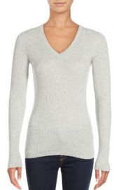 Vince - Skinny Ribbed V-Neck Sweater grey at Saks Off 5th