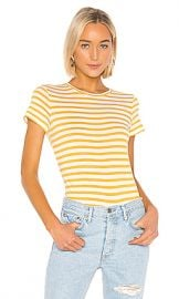 Vince Bengal Stripe Essential Crew in Off White  amp  Limonata from Revolve com at Revolve