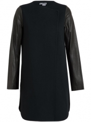 Vince Boiled Wool And Leather Coat - Browns at Farfetch