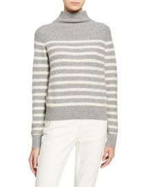 Vince Breton Stripe Cashmere Turtleneck Sweater at Neiman Marcus