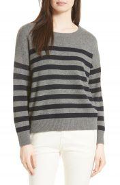 Vince Button Shoulder Stripe Cashmere Sweater at Nordstrom