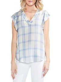 Vince Camuto - Sapphire Bloom Tartan Blouse at Saks Off 5th