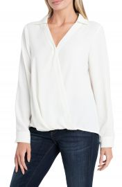 Vince Camuto   Wrap Front Rumple Twill Blouse   Nordstrom Rack at Nordstrom Rack