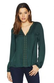 Vince Camuto  Long Sleeve Rumple Stud Trim Blouse Hunter LG at Amazon