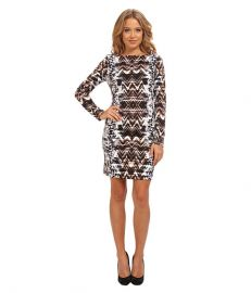 Vince Camuto 34 Sleeve Printed Ponte T-Body Dress Print at 6pm