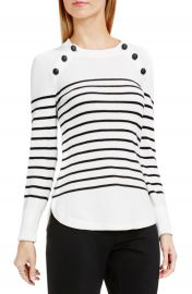 Vince Camuto Button Detail Stripe Sweater at Nordstrom