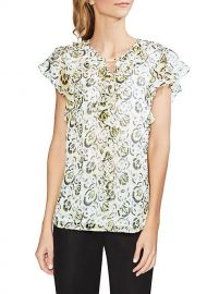 Vince Camuto Cluster Floral Ruffle Blouse at Belk