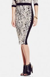 Vince Camuto Contrast Trim Leopard Print Pencil Skirt at Nordstrom
