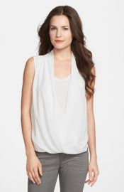 Vince Camuto Faux Wrap Shirttail Blouse in White at Nordstrom