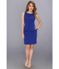 Vince Camuto Fitted Dress w Ruffled Peplum Blue at 6pm