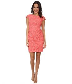 Vince Camuto Fitted Lace Dress with Cap Sleeve Coral at 6pm