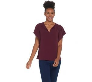 Vince Camuto Flutter Sleeve Top at QVC