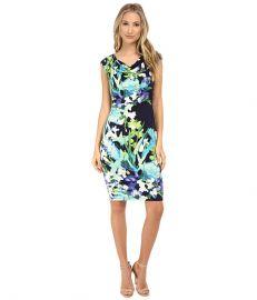 Vince Camuto Ity Floral Print Sleeveless Drape Neck Dress Print at 6pm
