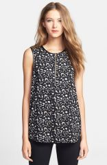 Vince Camuto Leopard Print Front Zip Top at Nordstrom