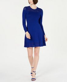 Vince Camuto Mesh-Trim Sweater Dress Women -  Dresses - Macy s at Macys