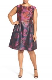 Vince Camuto Metallic Jacquard Fit   Flare Dress  Plus Size at Nordstrom