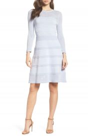 Vince Camuto Mix Stitch Pointelle Fit   Flare Dress at Nordstrom