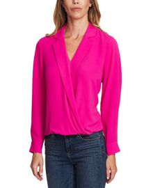 Vince Camuto Notch-Collar Surplice Top   Reviews - Tops - Women - Macy s at Macys